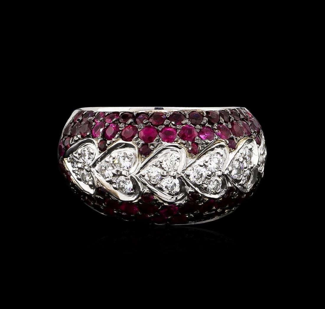 2.00 ctw Ruby and Diamond Ring - 14KT White Gold - 2