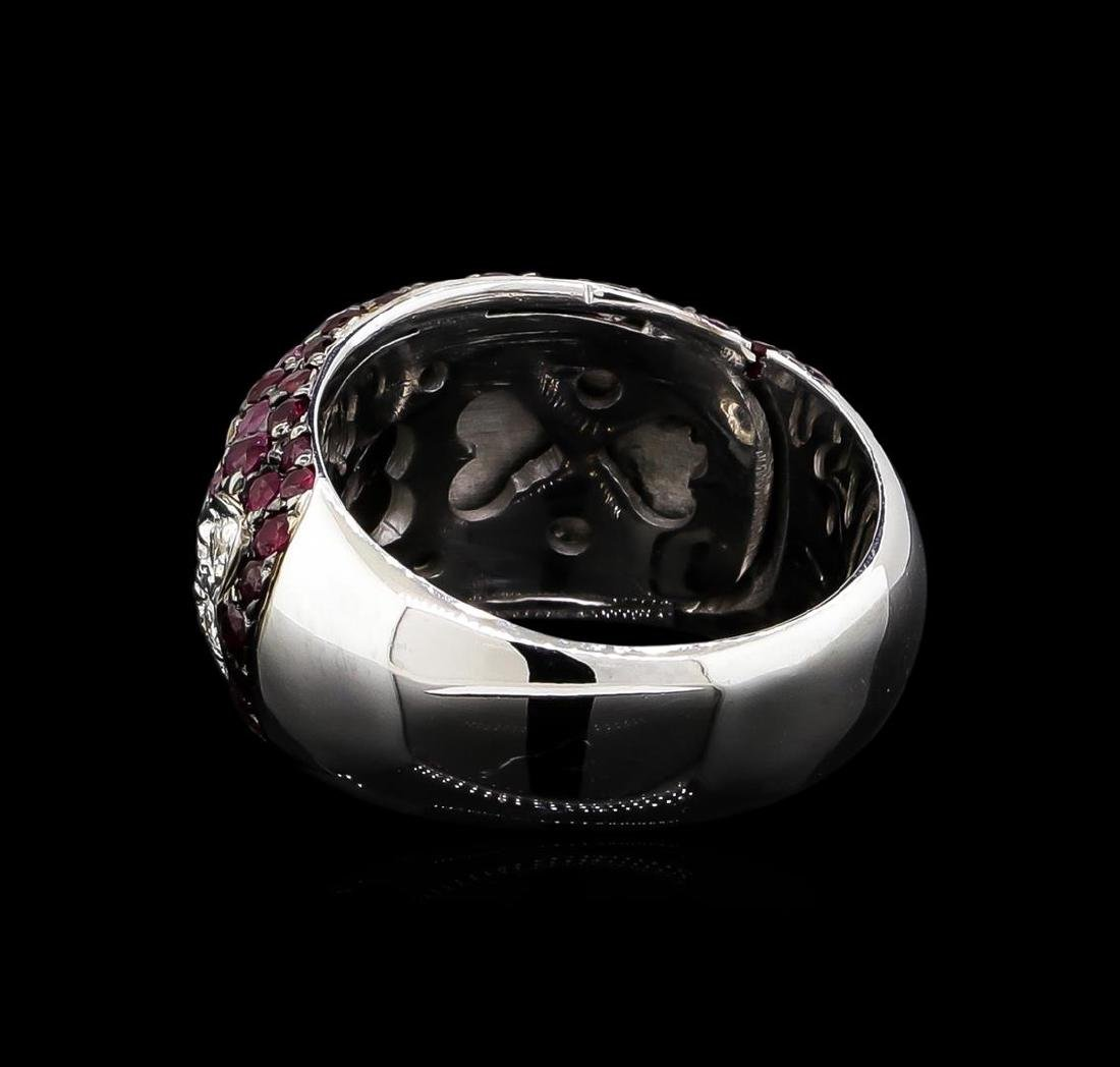 2.00 ctw Ruby and Diamond Ring - 14KT White Gold - 3