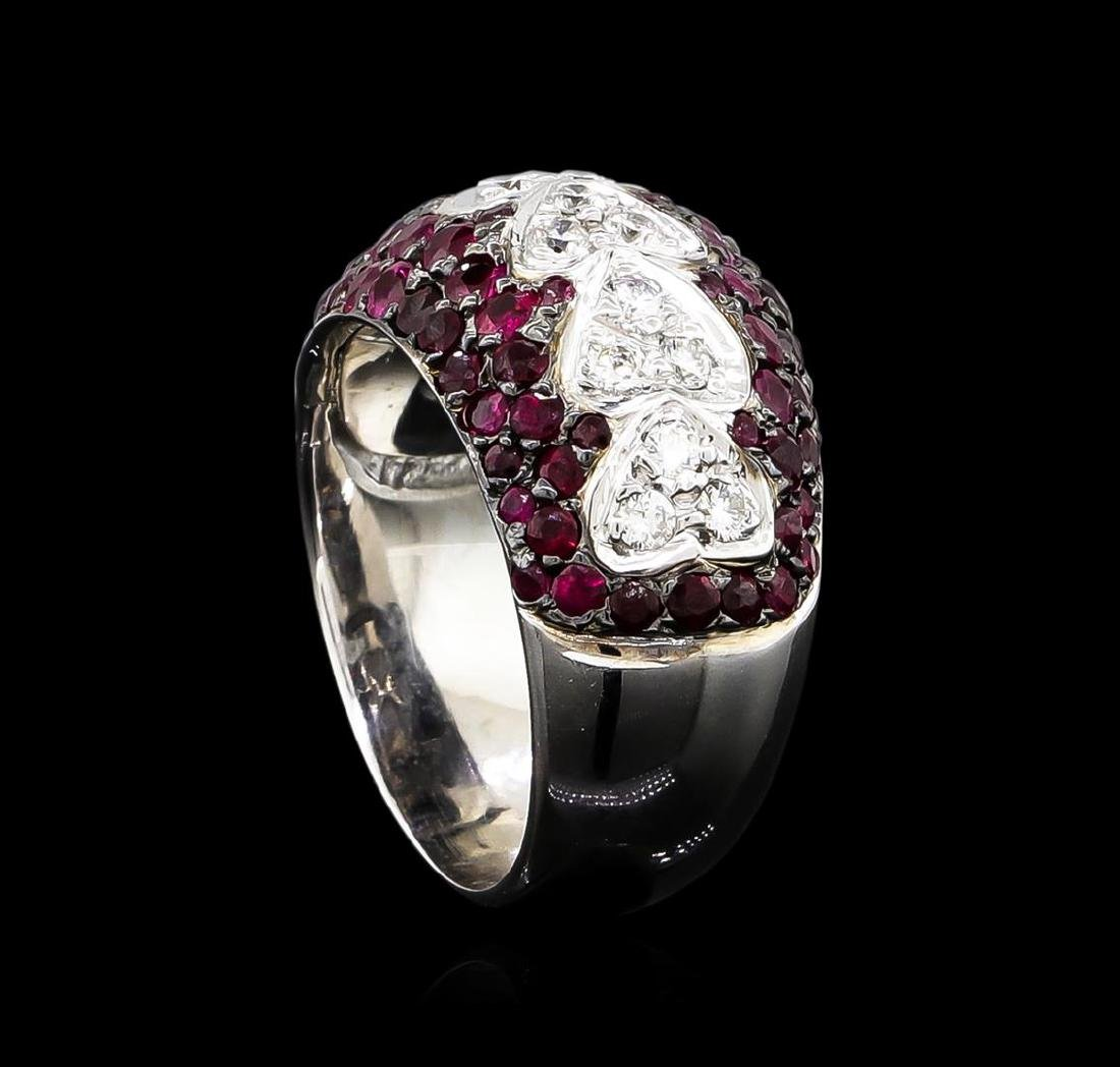 2.00 ctw Ruby and Diamond Ring - 14KT White Gold - 4