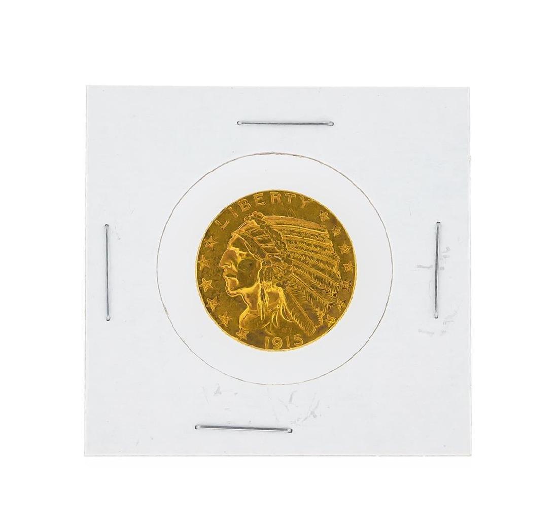 1915 $5 AU Indian Head Half Eagle Gold Coin