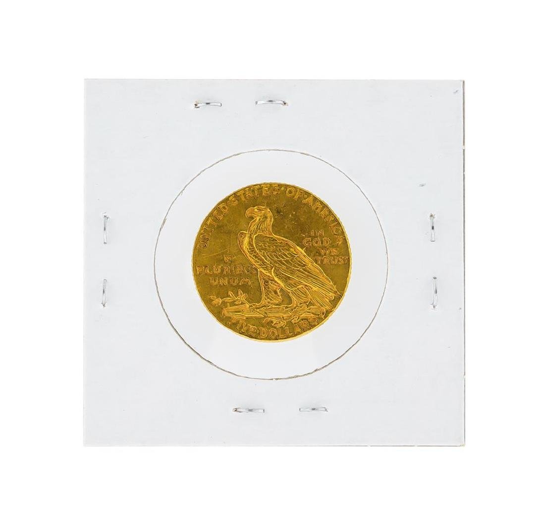 1915 $5 AU Indian Head Half Eagle Gold Coin - 2