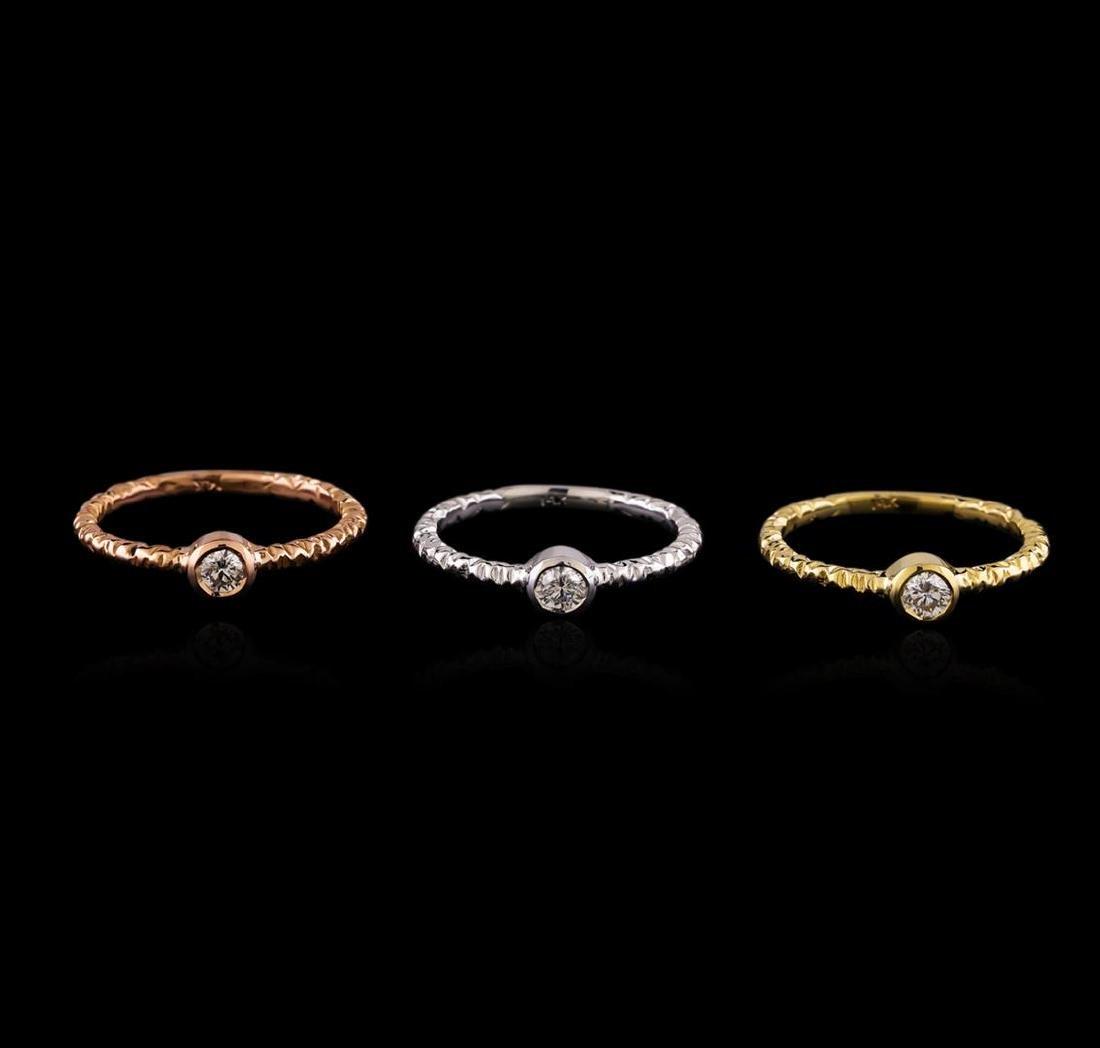 0.49 ctw Diamond Ring Set - 14KT Tri Color Gold