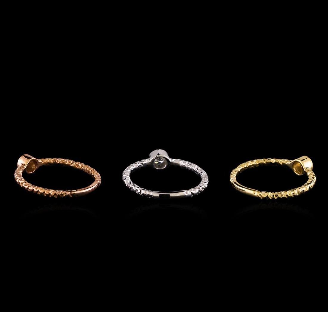 0.49 ctw Diamond Ring Set - 14KT Tri Color Gold - 2