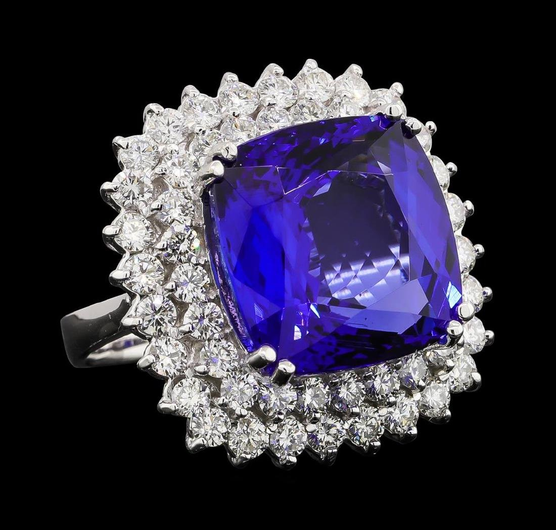 GIA Cert 16.92 ctw Tanzanite and Diamond Ring - 14KT