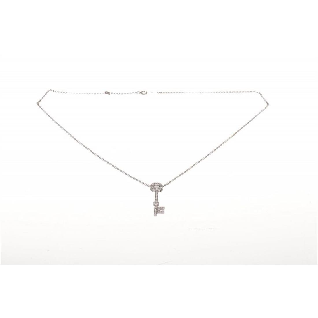 Designer 14 KT White Gold 0.35 CT Diamond Key Pendant