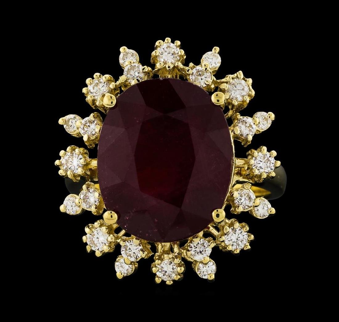 10.95 ctw Ruby and Diamond Ring - 14KT Yellow Gold - 2