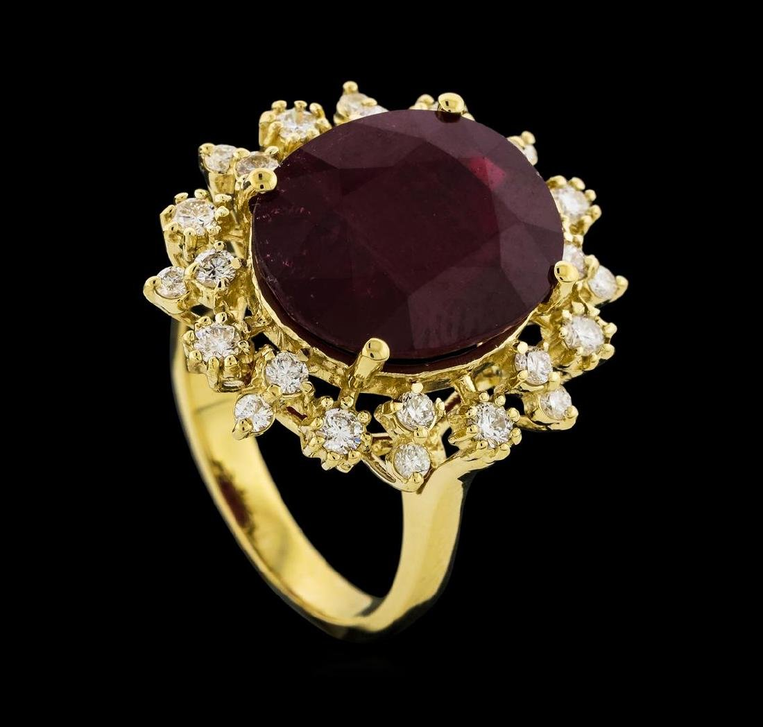 10.95 ctw Ruby and Diamond Ring - 14KT Yellow Gold - 4