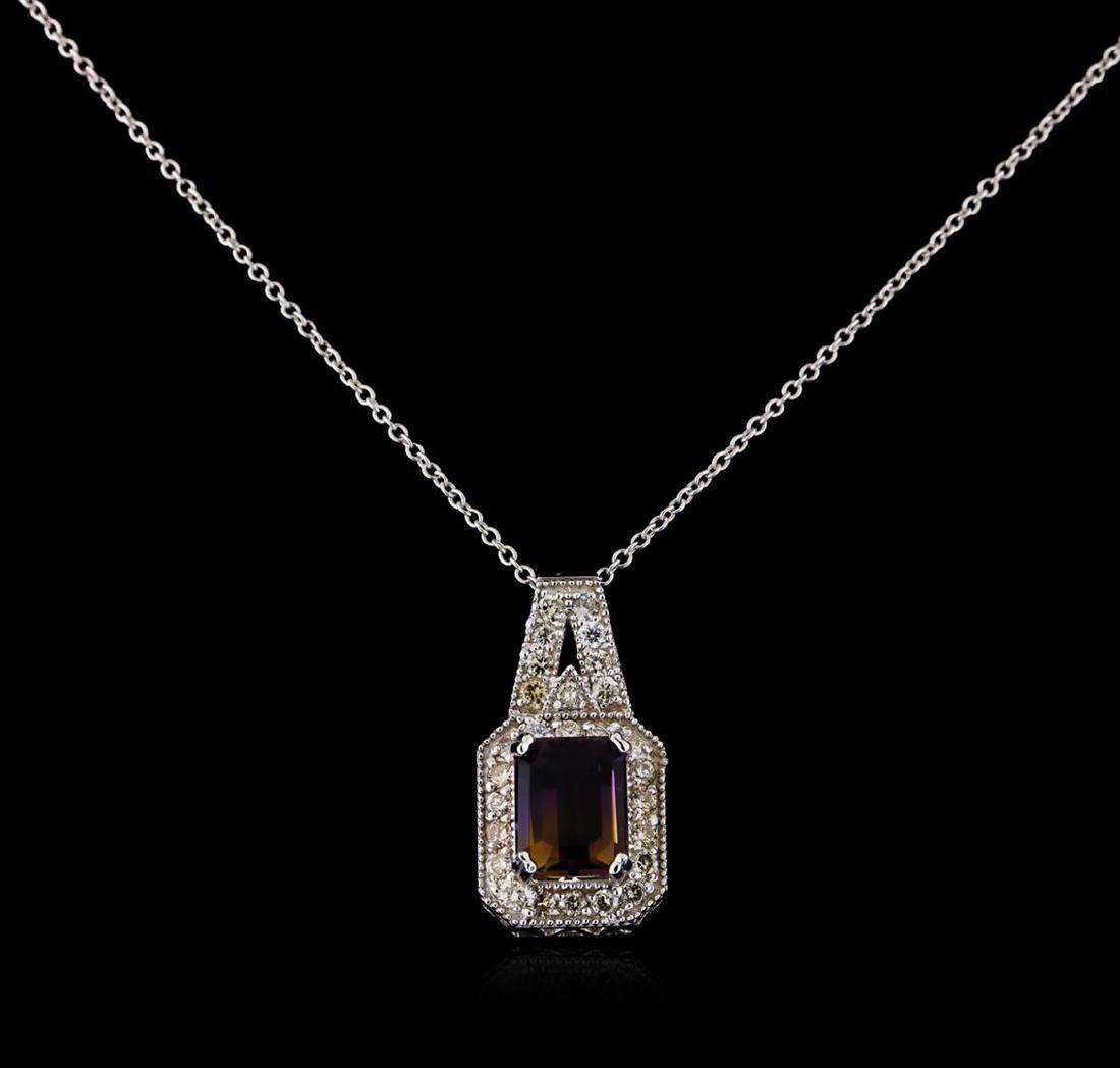 2.75 ctw Ametrine and Diamond Pendant With Chain - 14KT