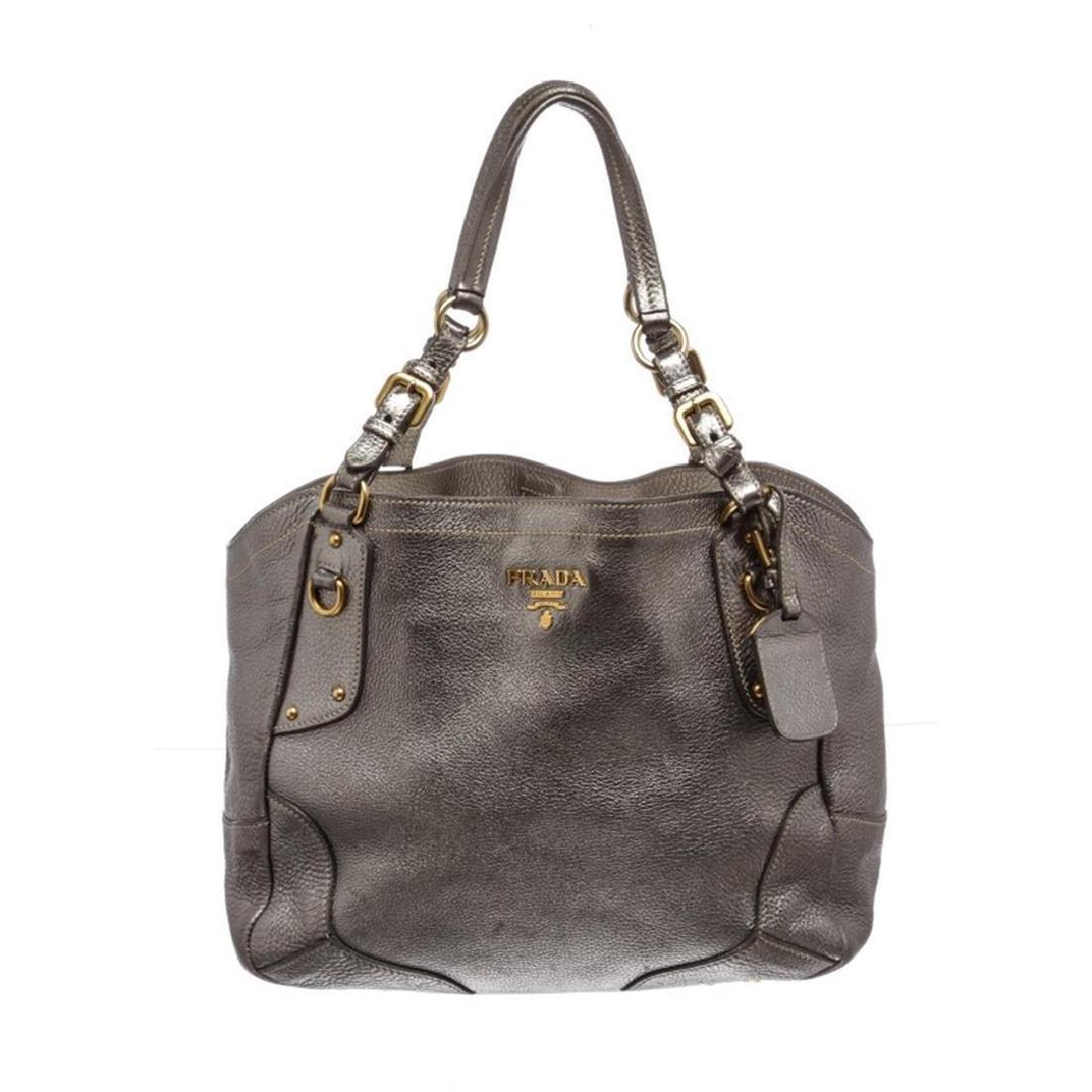 Prada Silver Metallic Vitello Daino Hobo Bag