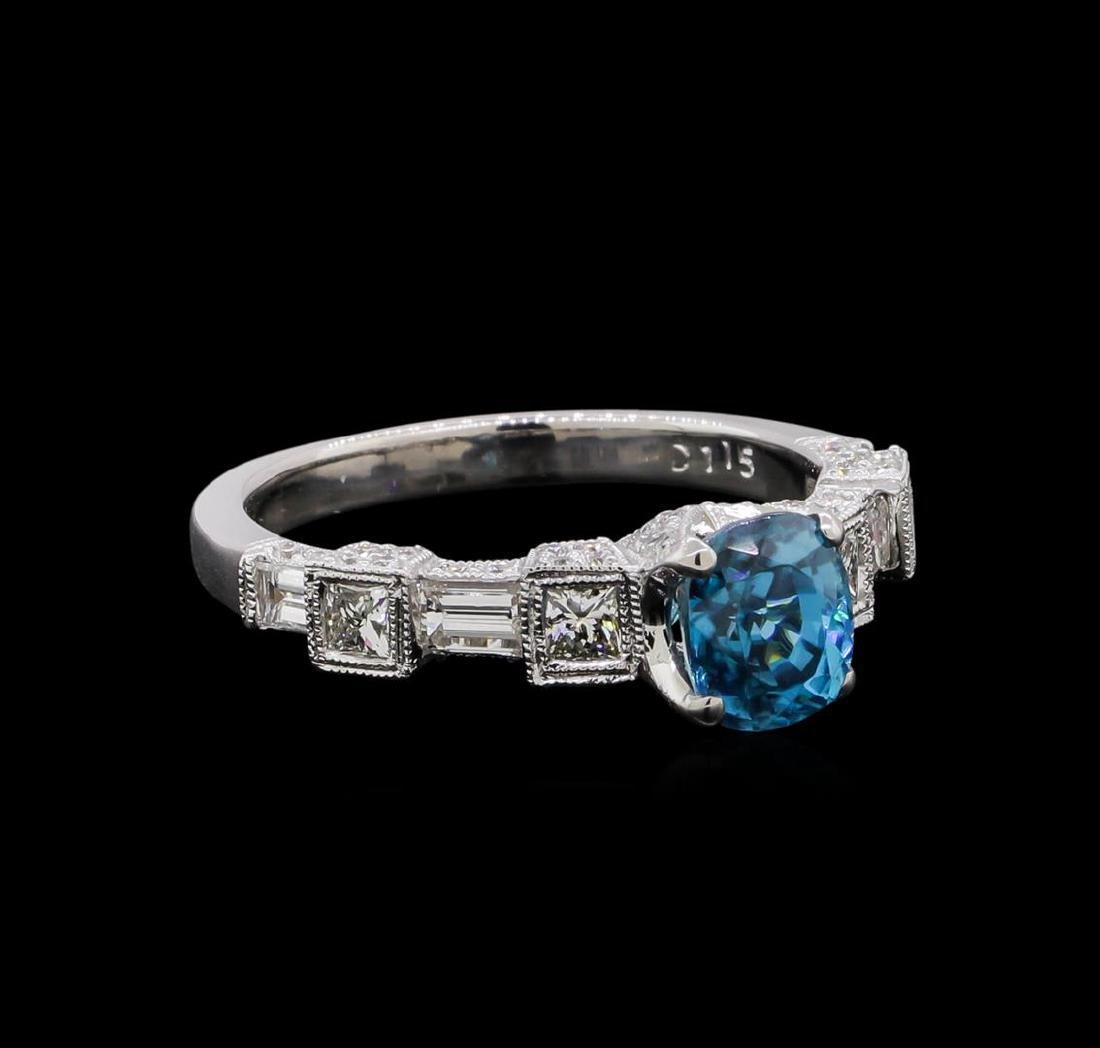 1.92 ctw Blue Zircon and Diamond Ring - 18KT White Gold