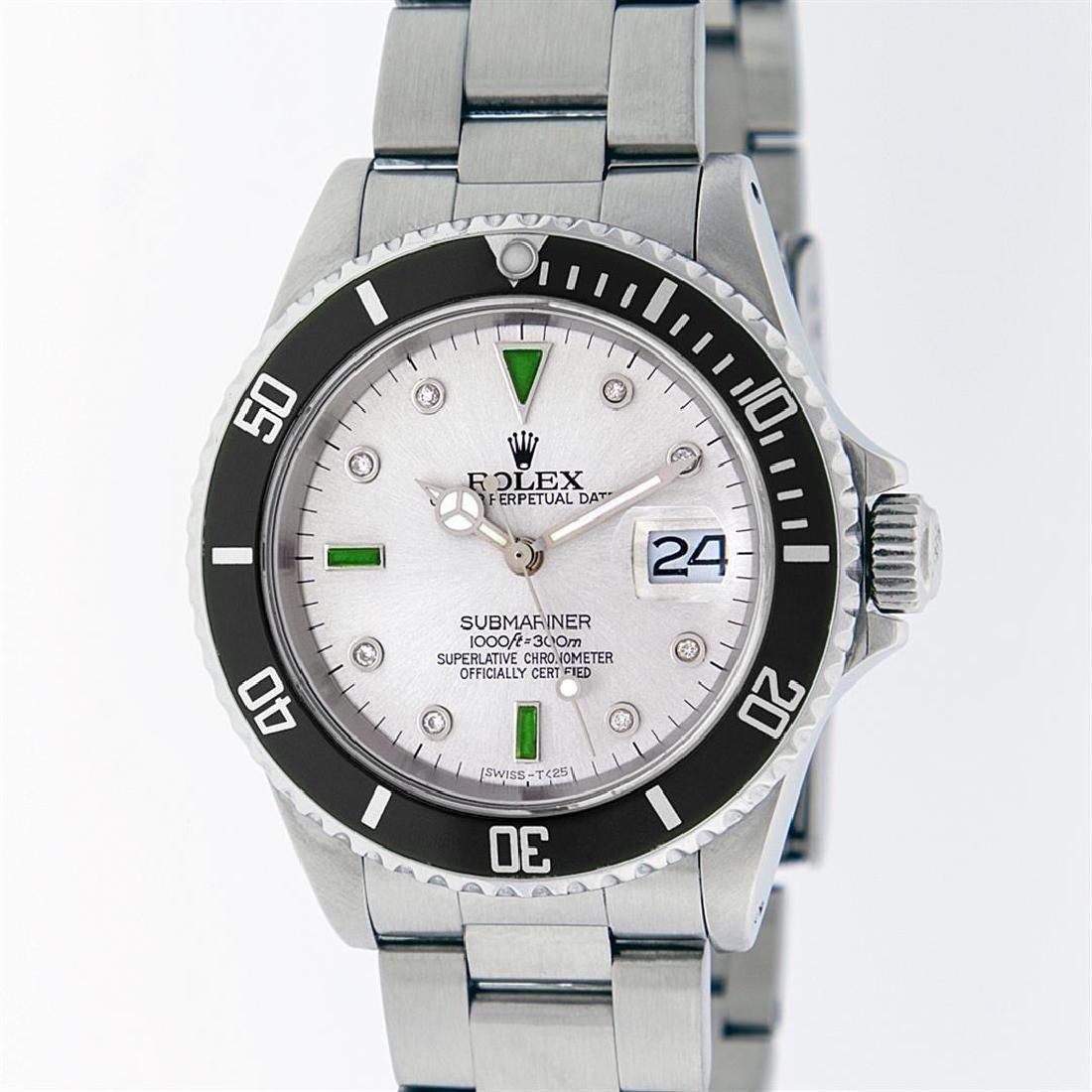 Rolex Stainless Steel Emerald and Diamond Submariner
