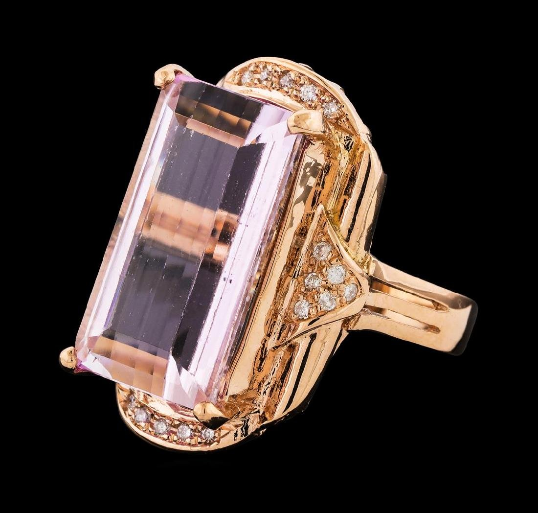 17.17 ctw Kunzite and Diamond Ring - 14KT Rose Gold