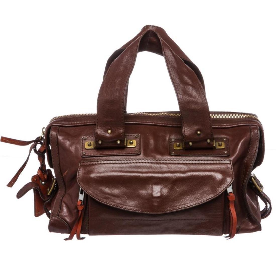 Chloe Burgundy Leather Tracy Satchel Bag