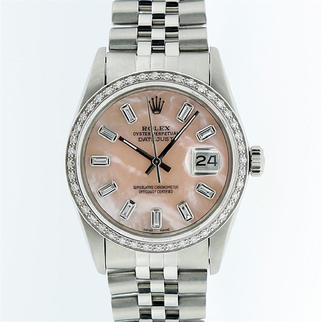 Rolex Stainless Steel Pink MOP Diamond DateJust Men's