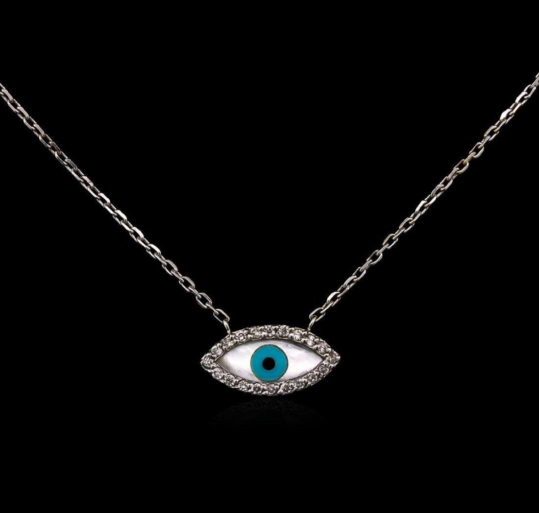 0.11 ctw Diamond Necklace - 14KT White Gold