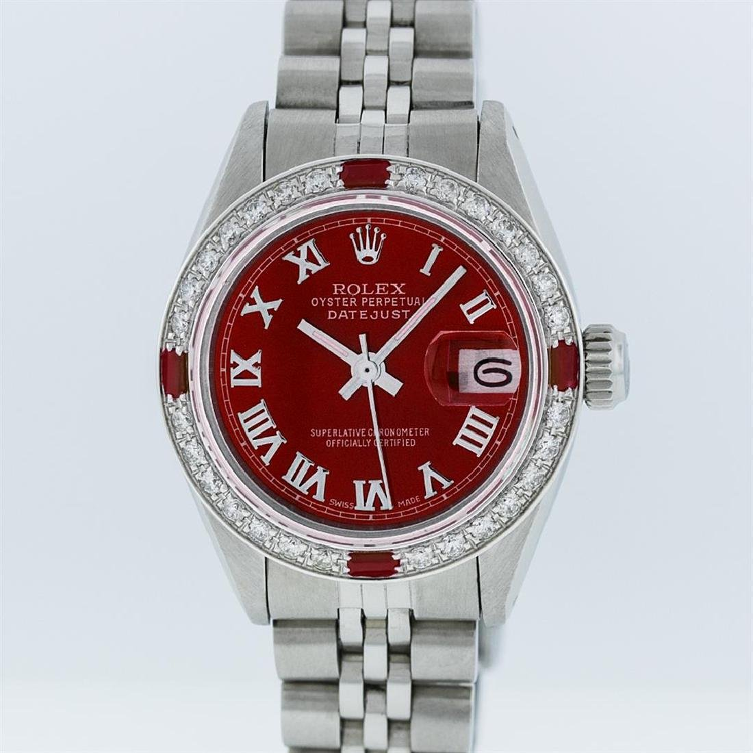 Rolex Stainless Steel Red Roman Diamond and Ruby