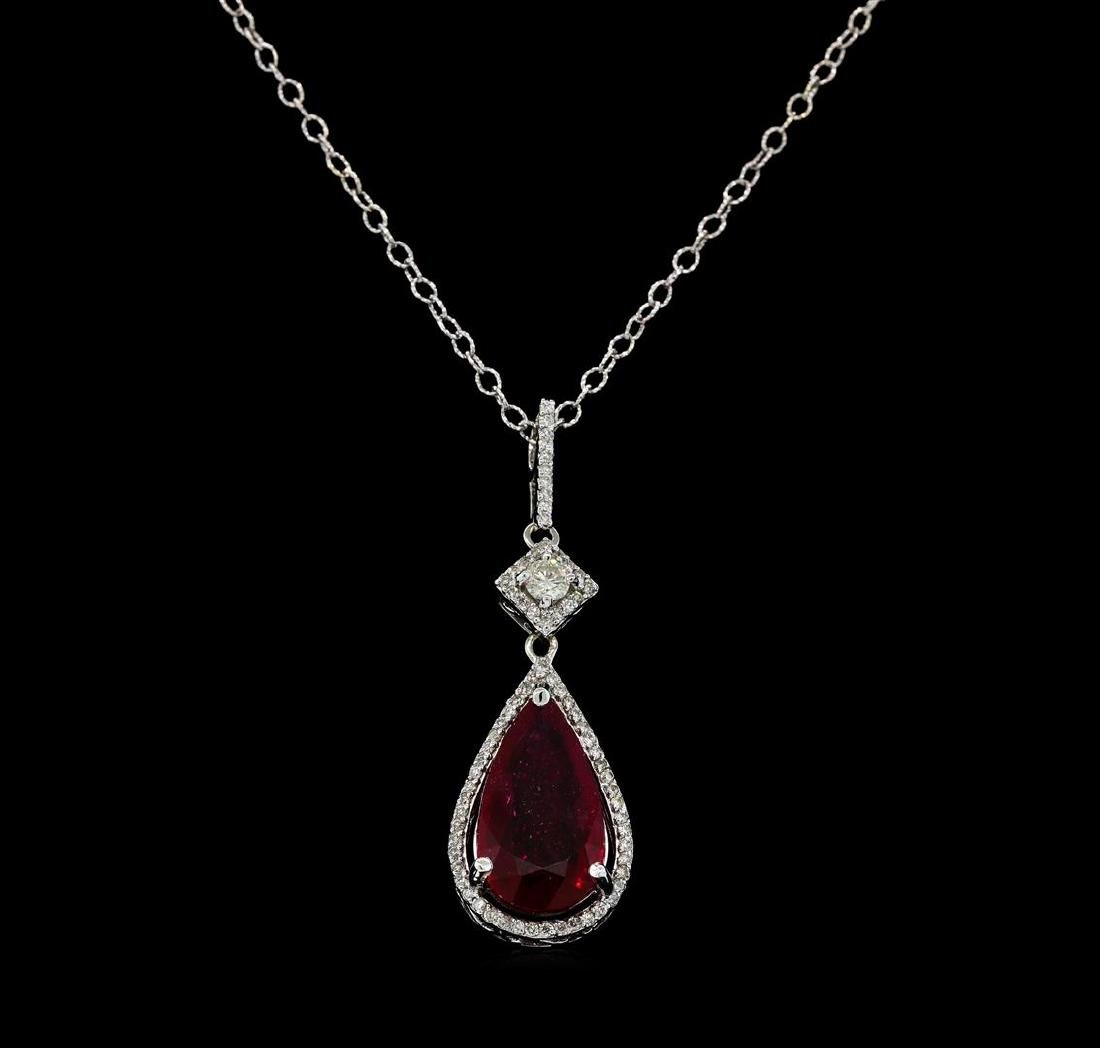 6.47 ctw Ruby and Diamond Pendant With Chain - 14KT