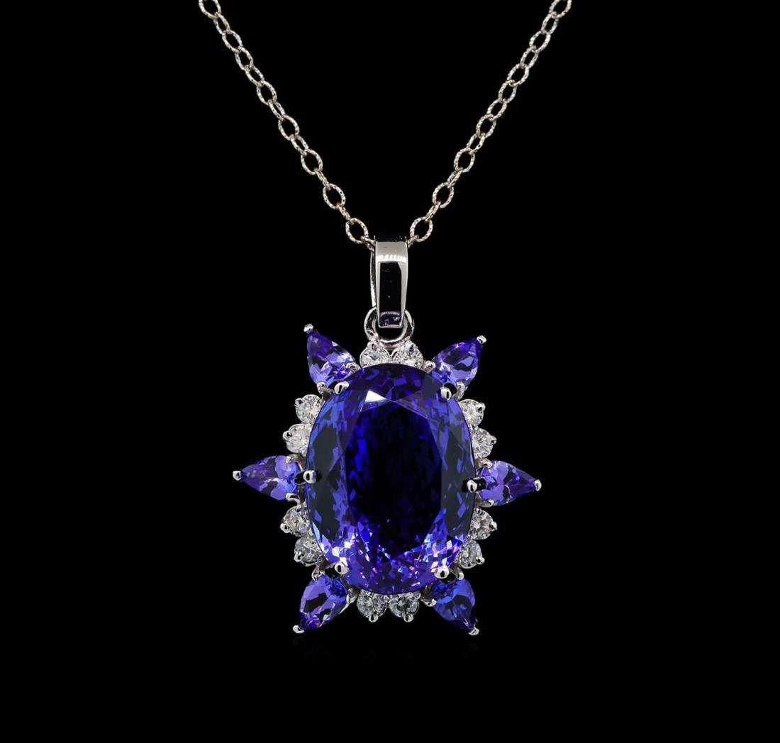 GIA Cert 28.43 ctw Tanzanite and Diamond Pendant With