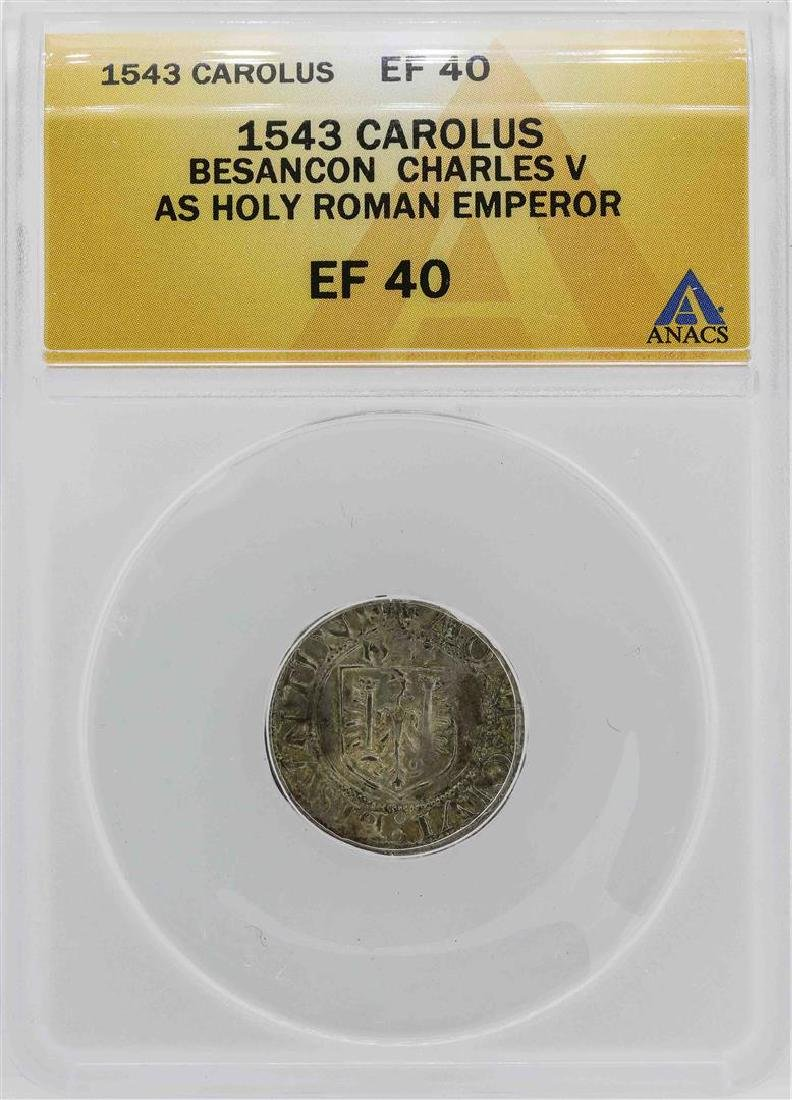 1543 Besancon Charles V Holy Roman Emperor Carolus Coin