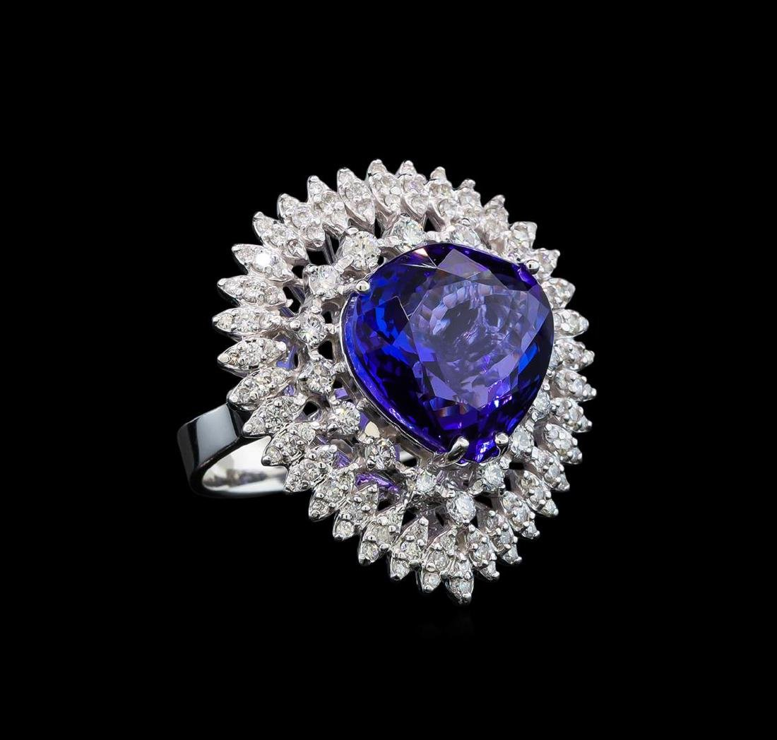 GIA Cert 11.22 ctw Tanzanite and Diamond Ring - 14KT