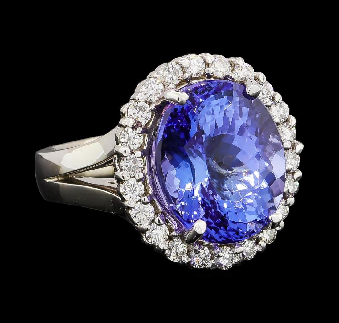 GIA Cert 11.27 ctw Tanzanite and Diamond Ring - 14KT