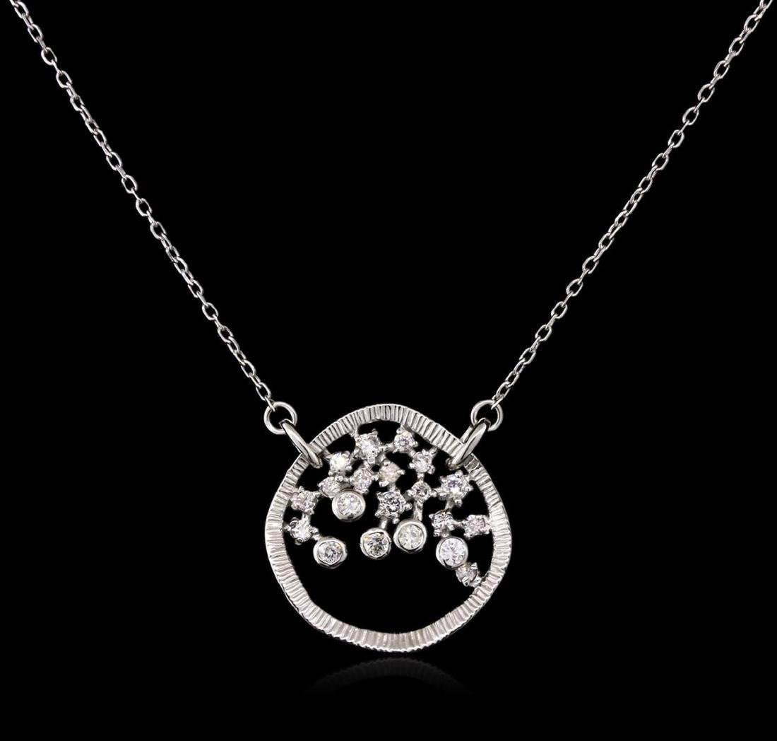 0.34 ctw Diamond Necklace - 14KT White Gold