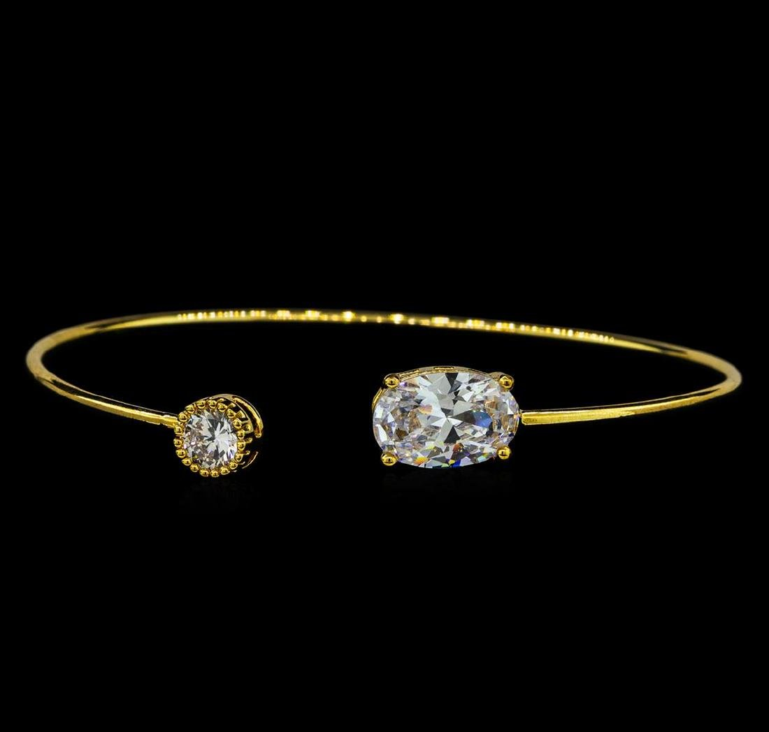 CZ Open Bangle Bracelet - Gold Plated
