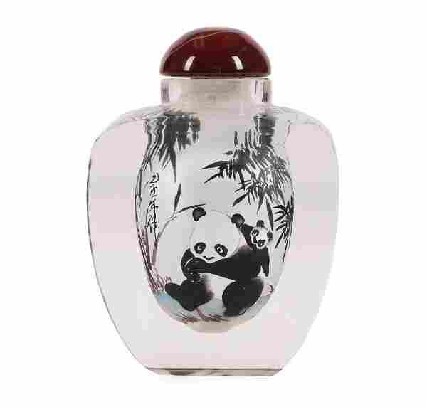 "Reverse Painted Glass Perfume/Snuff Bottle ""Pandas"""