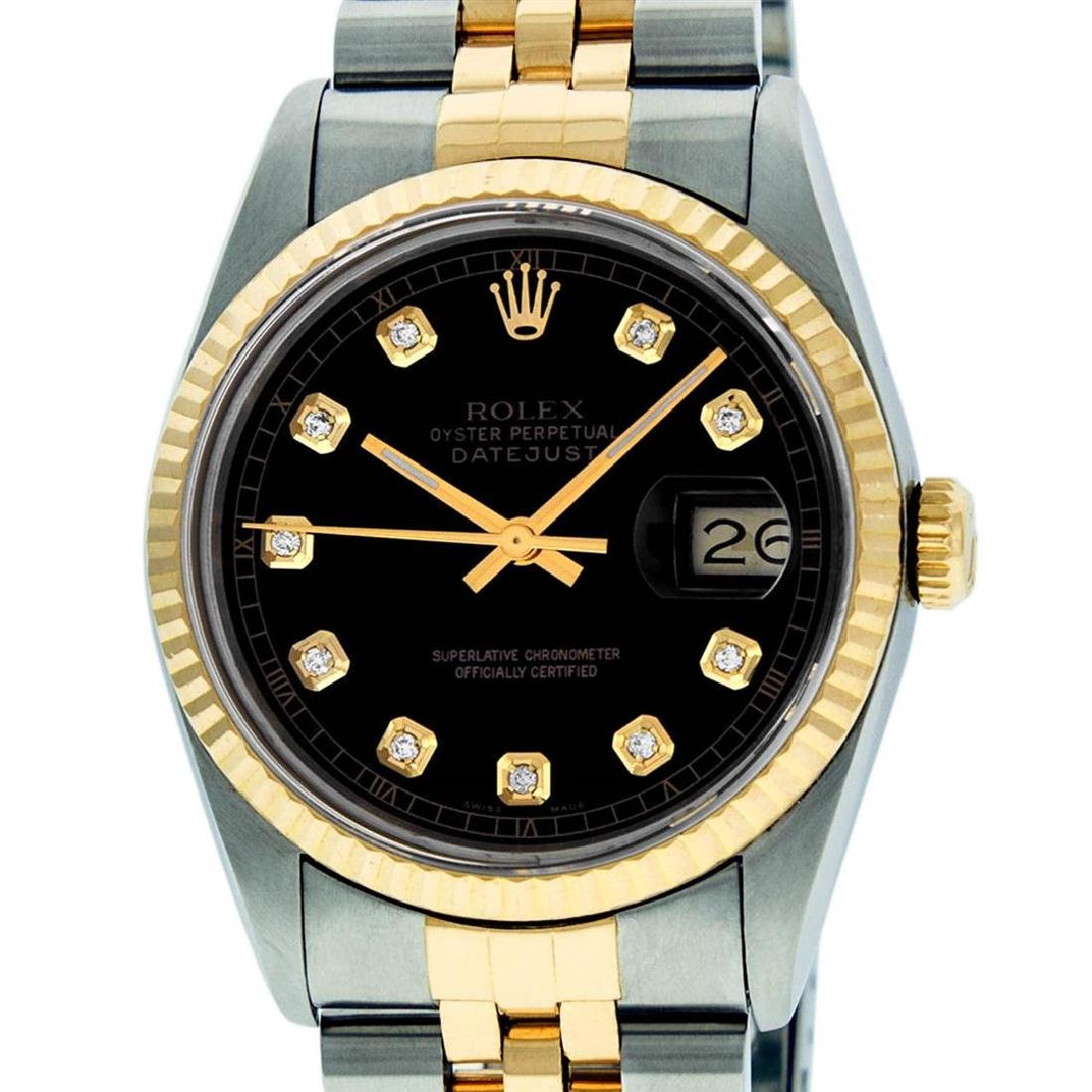 Rolex Mens 36mm Two Tone Yellow Gold Black
