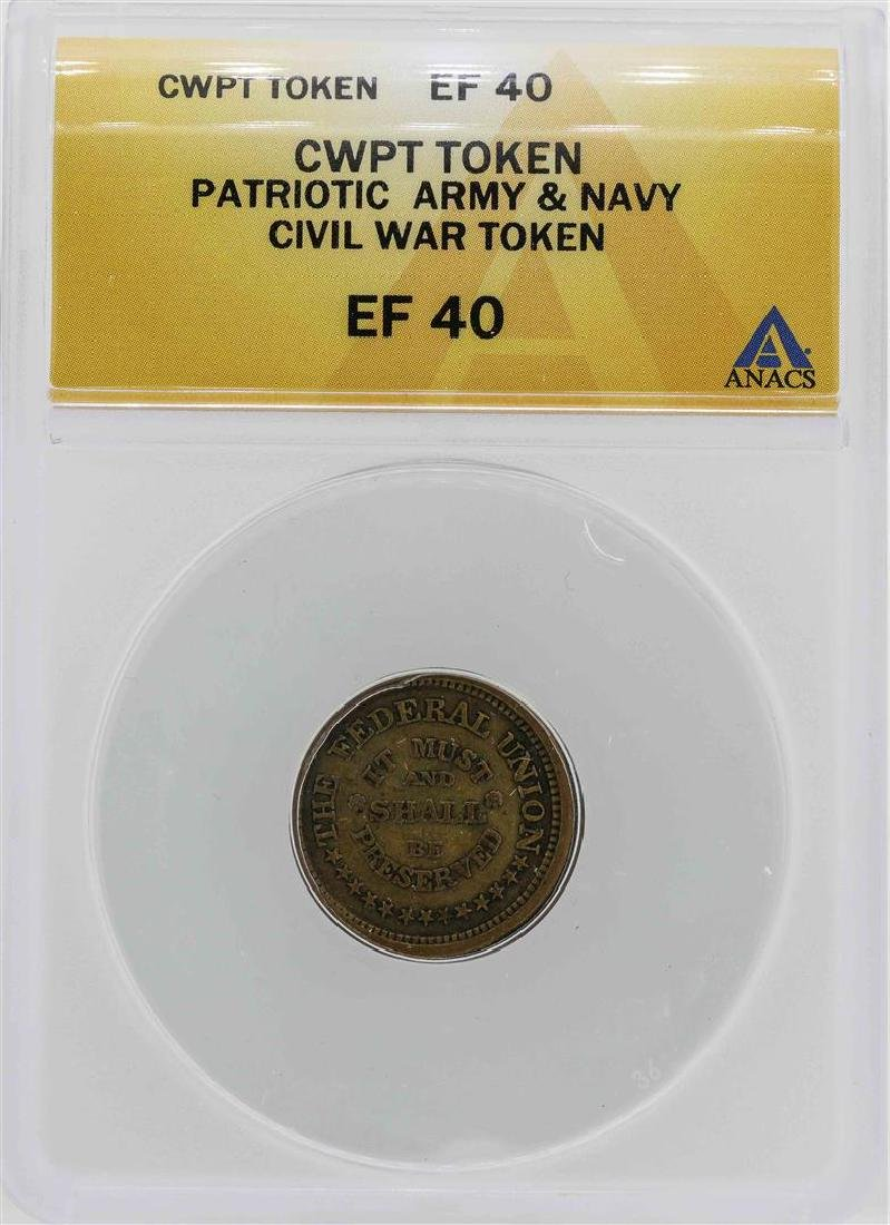 Civil War Patriotic Army & Navy Token ANACS XF40