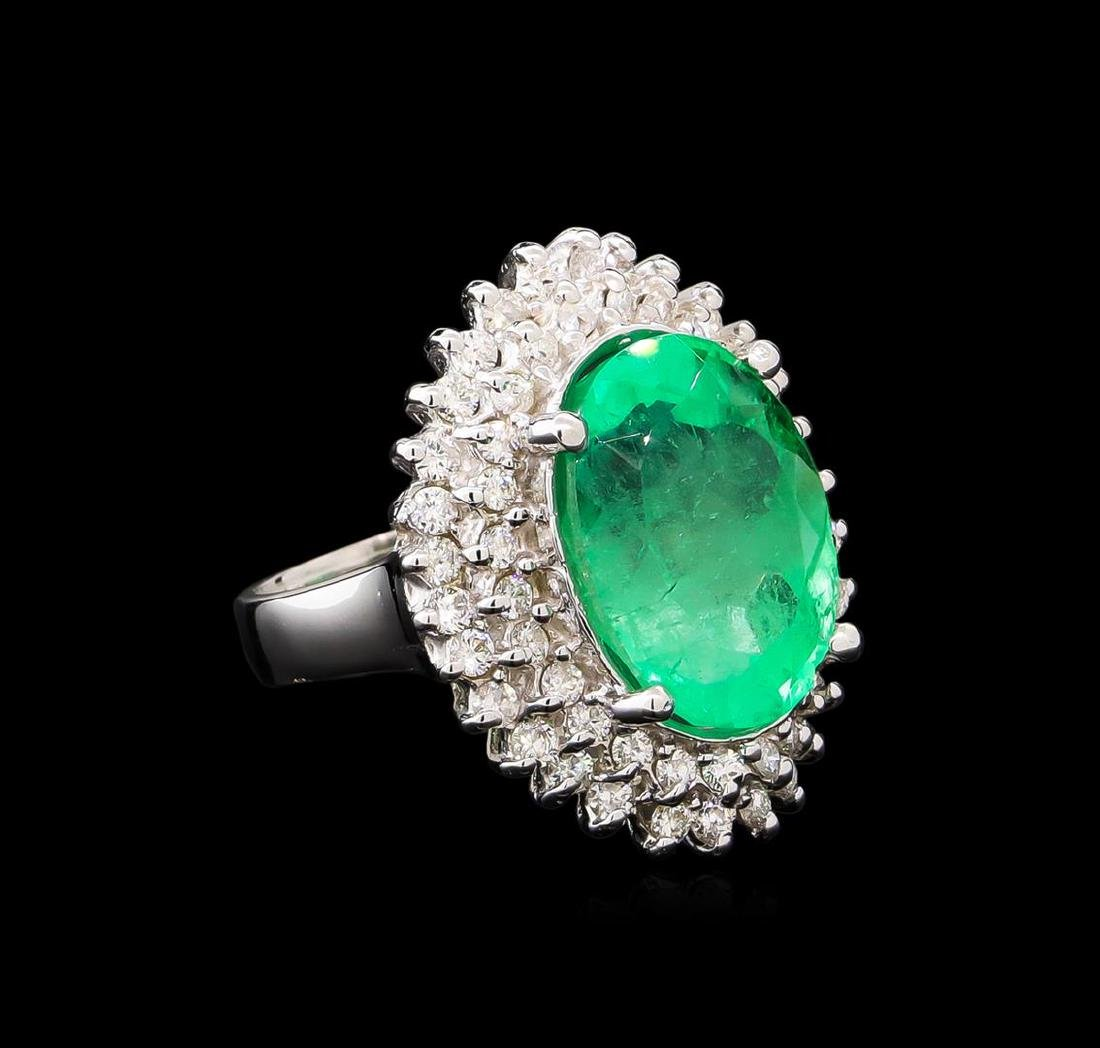 GIA Cert 10.05 ctw Emerald and Diamond Ring - 14KT