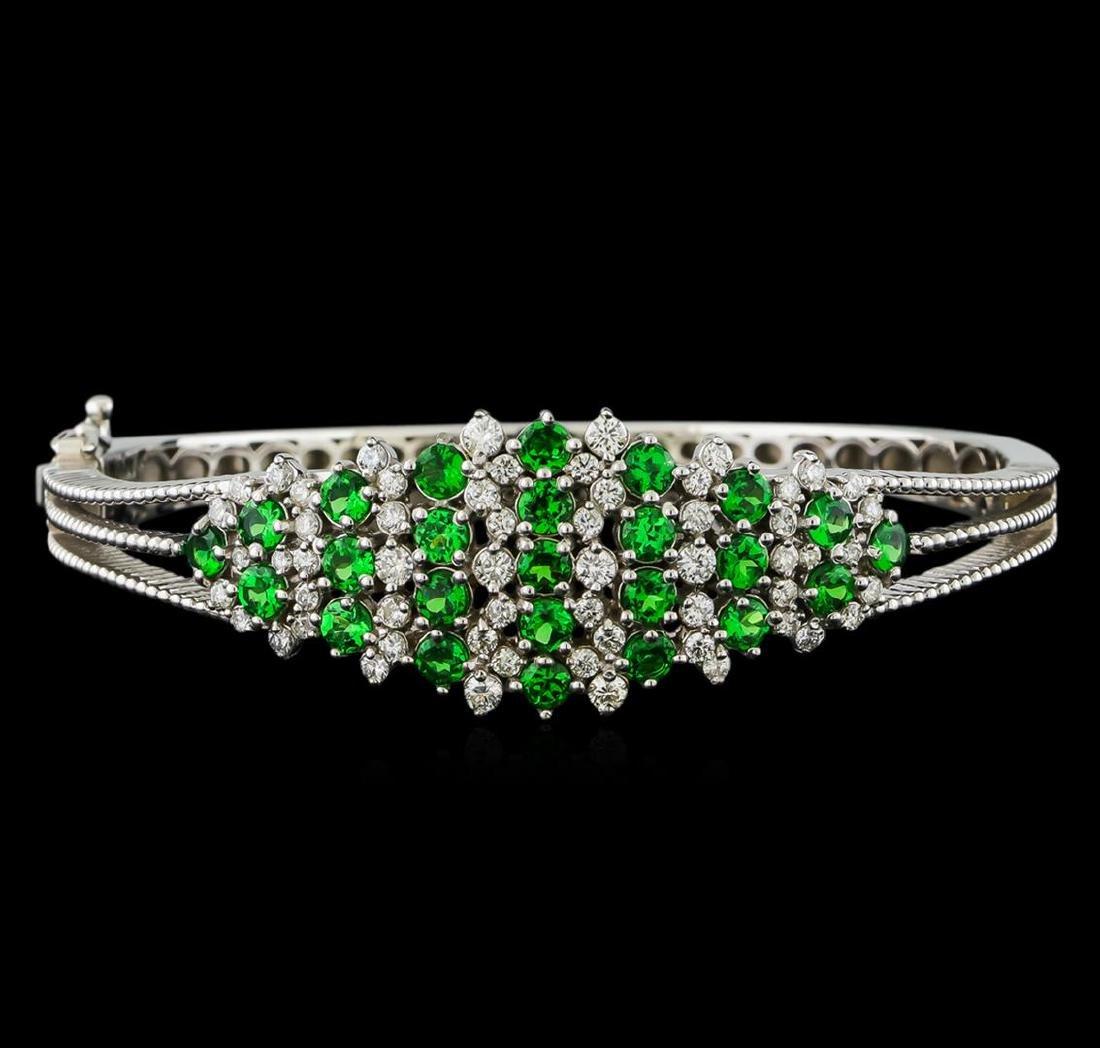 3.68 ctw Tsavorite and Diamond Bracelet - 14KT White