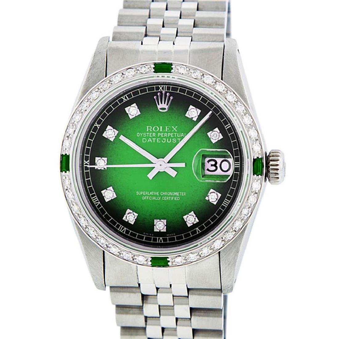 Rolex Mens Stainless Steel Green Vignette Diamond And