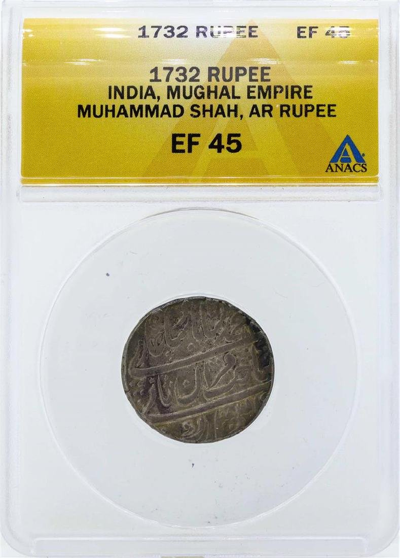 1732 India Rupee Mughal Empire Coin ANACS EF45
