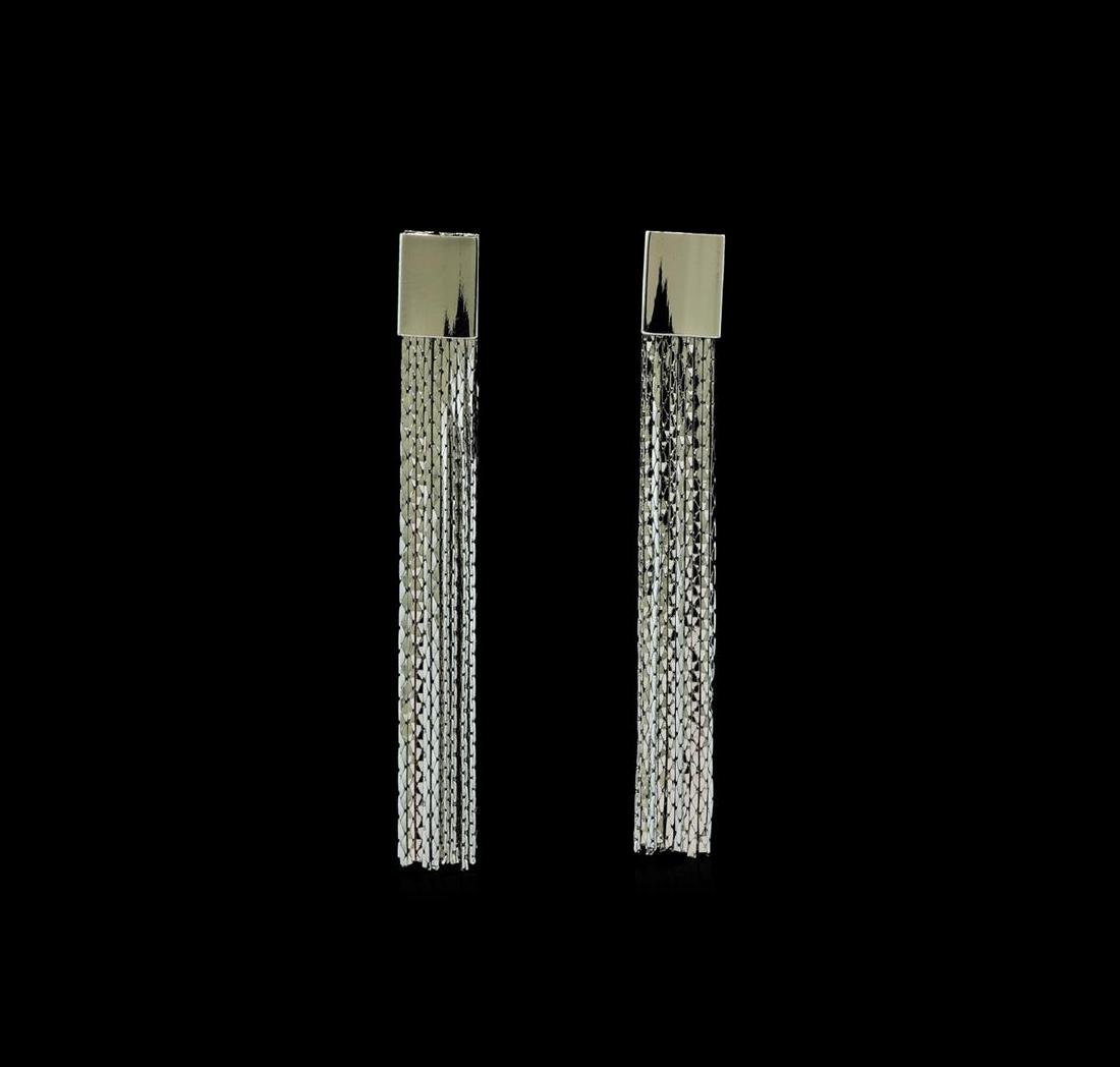 Multi Chain Tassel Earrings - Rhodium Plated