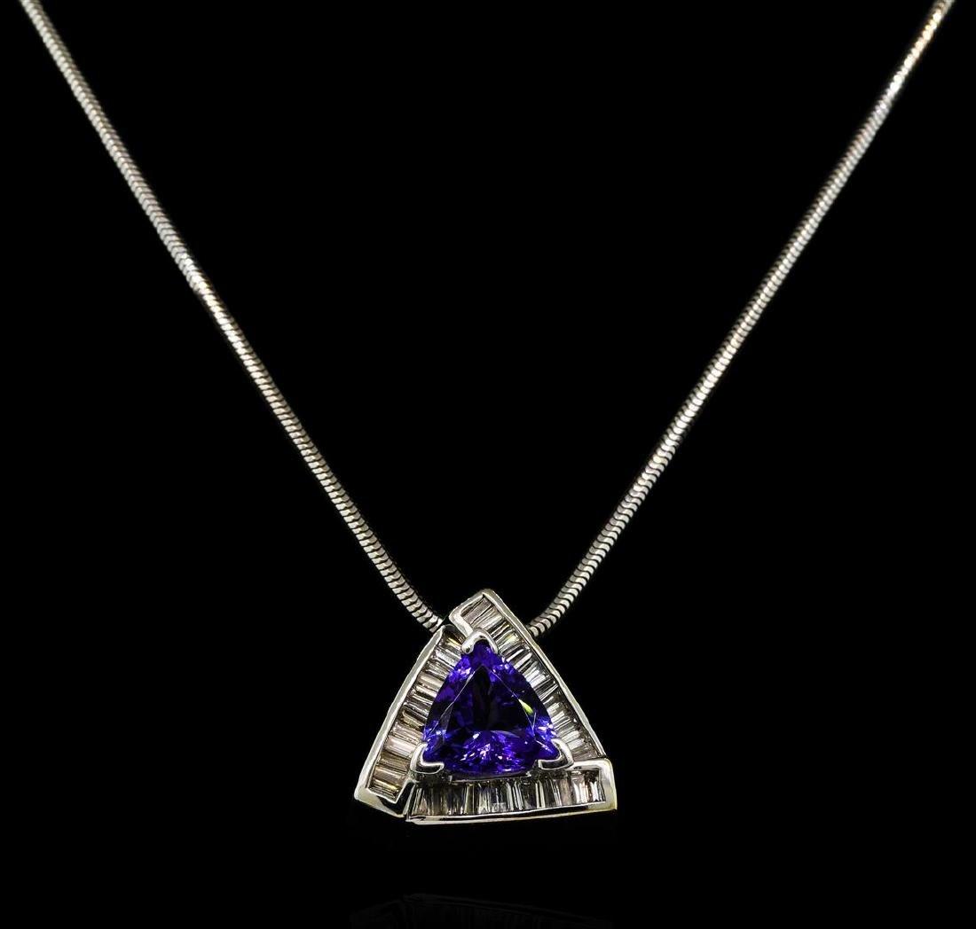 2.46 ctw Tanzanite and Diamond Pendant With Chain -