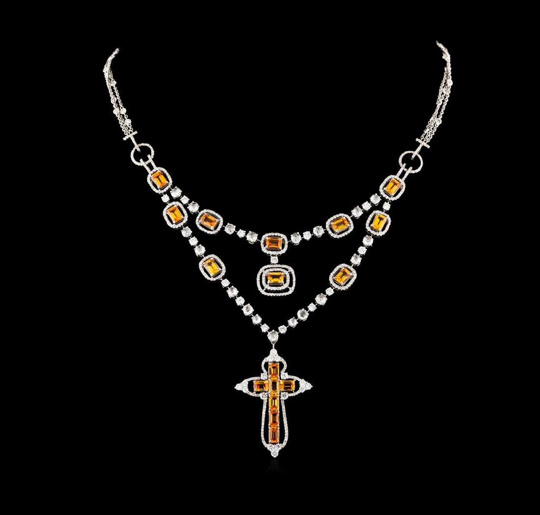 11.41 ctw Orange Sapphire and Diamond Necklace - 18KT
