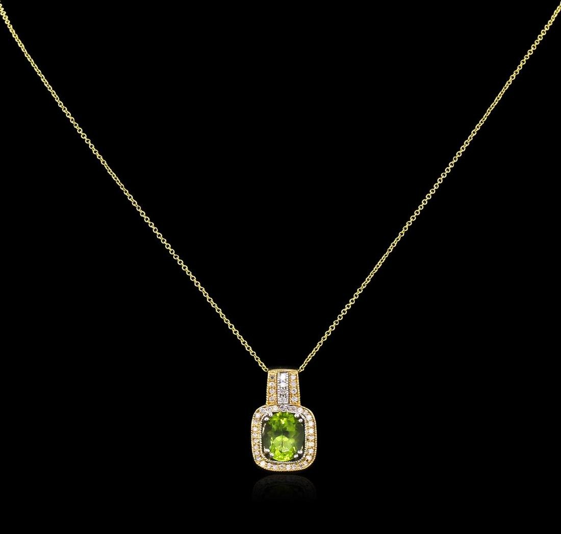 2.66 ctw Peridot and Diamond Pendant With Chain - 14KT