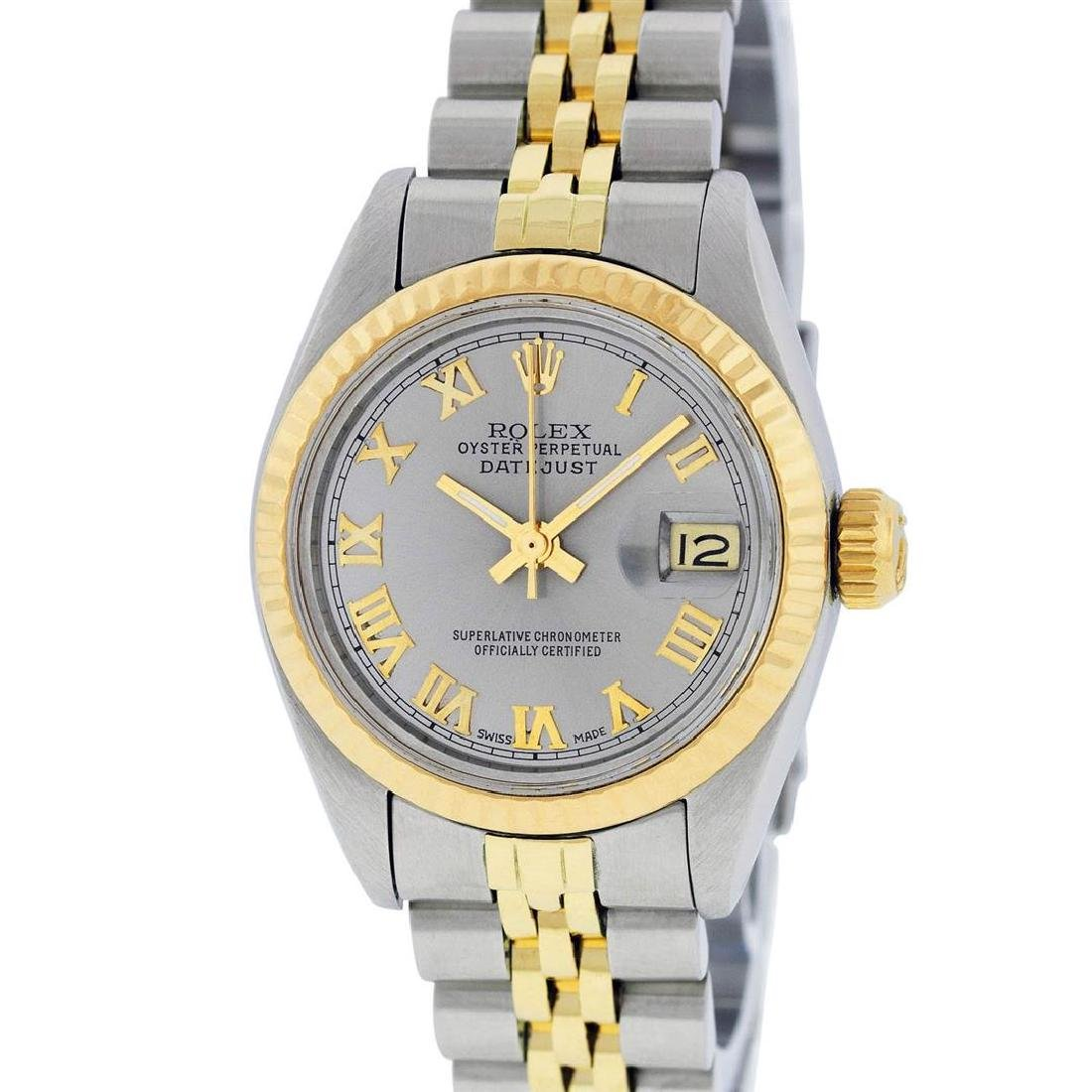 Rolex Ladies 2T Yellow Gold & Stainless Steel Slate