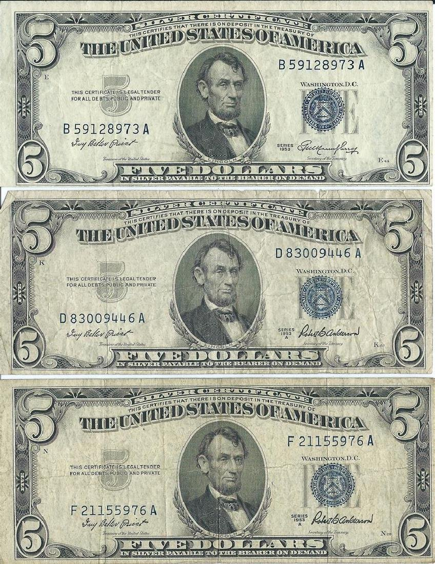 1953 $5 Silver Certificate Currency Lot of 6