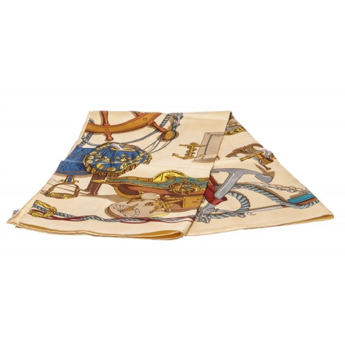 Hermes Beige Bateau A Vapeur De Jouffroy D'Abbans Silk