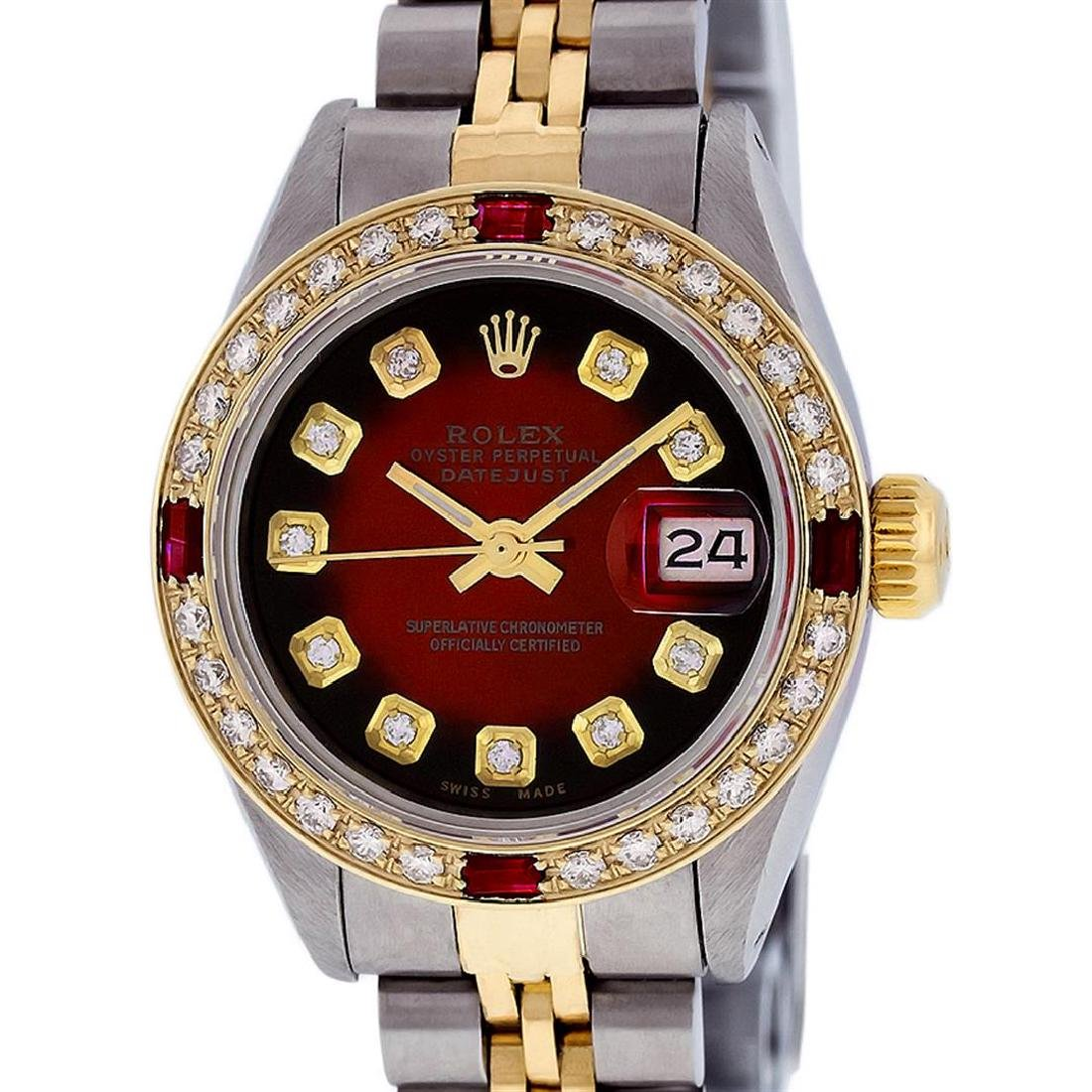 Rolex Ladies 2T Red Vignette Diamond And Ruby Datejust