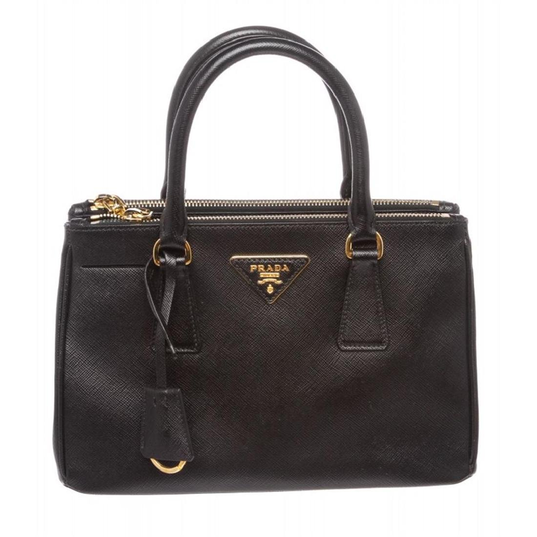 Prada Black Mini Saffiano Lux Galleria Double Zip Tote