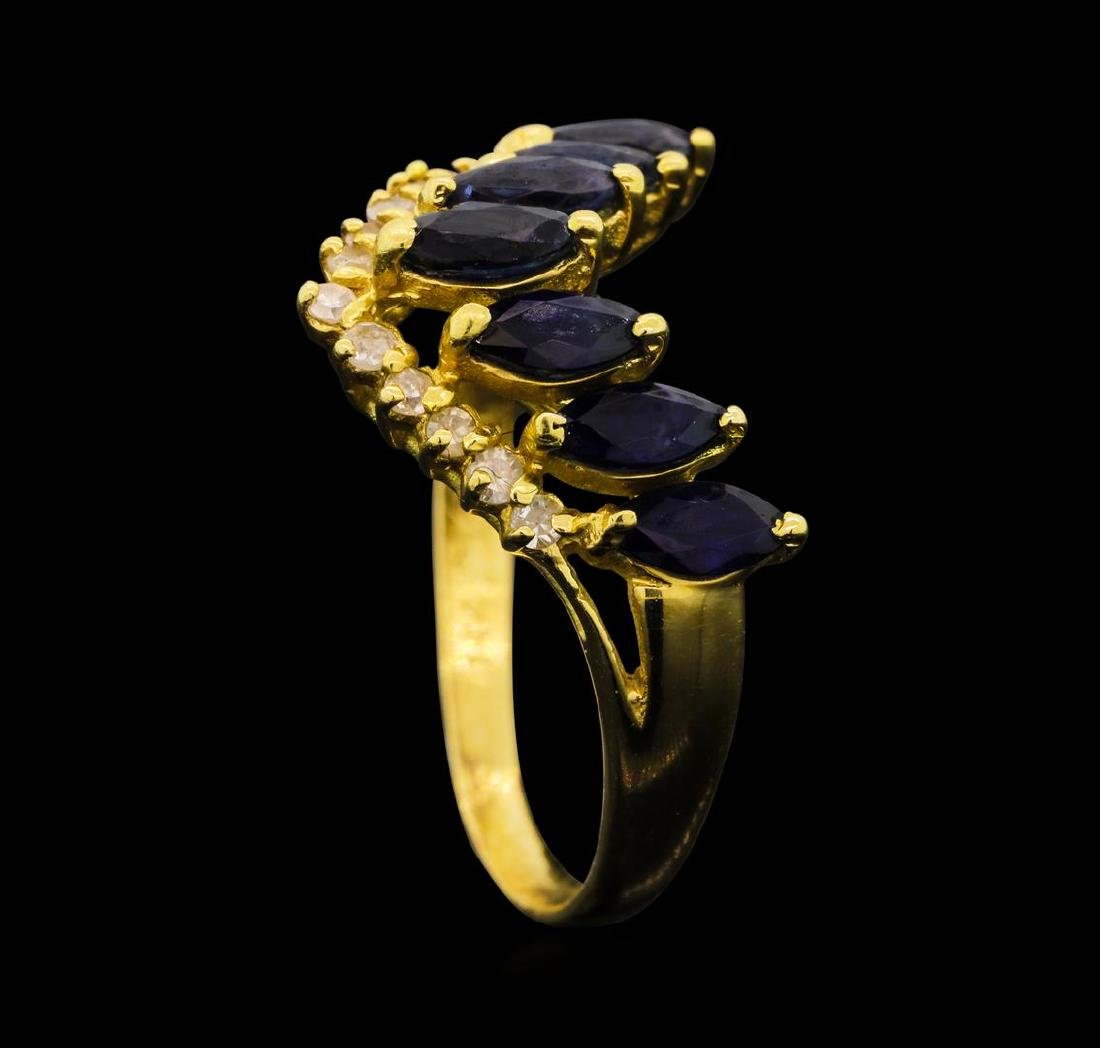 1.00 ctw Sapphire And Diamond Ring - 14KT Yellow Gold - 4