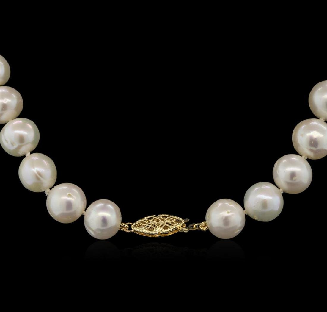 11MM Freshwater Pearl Necklace With 14KT Yellow Gold