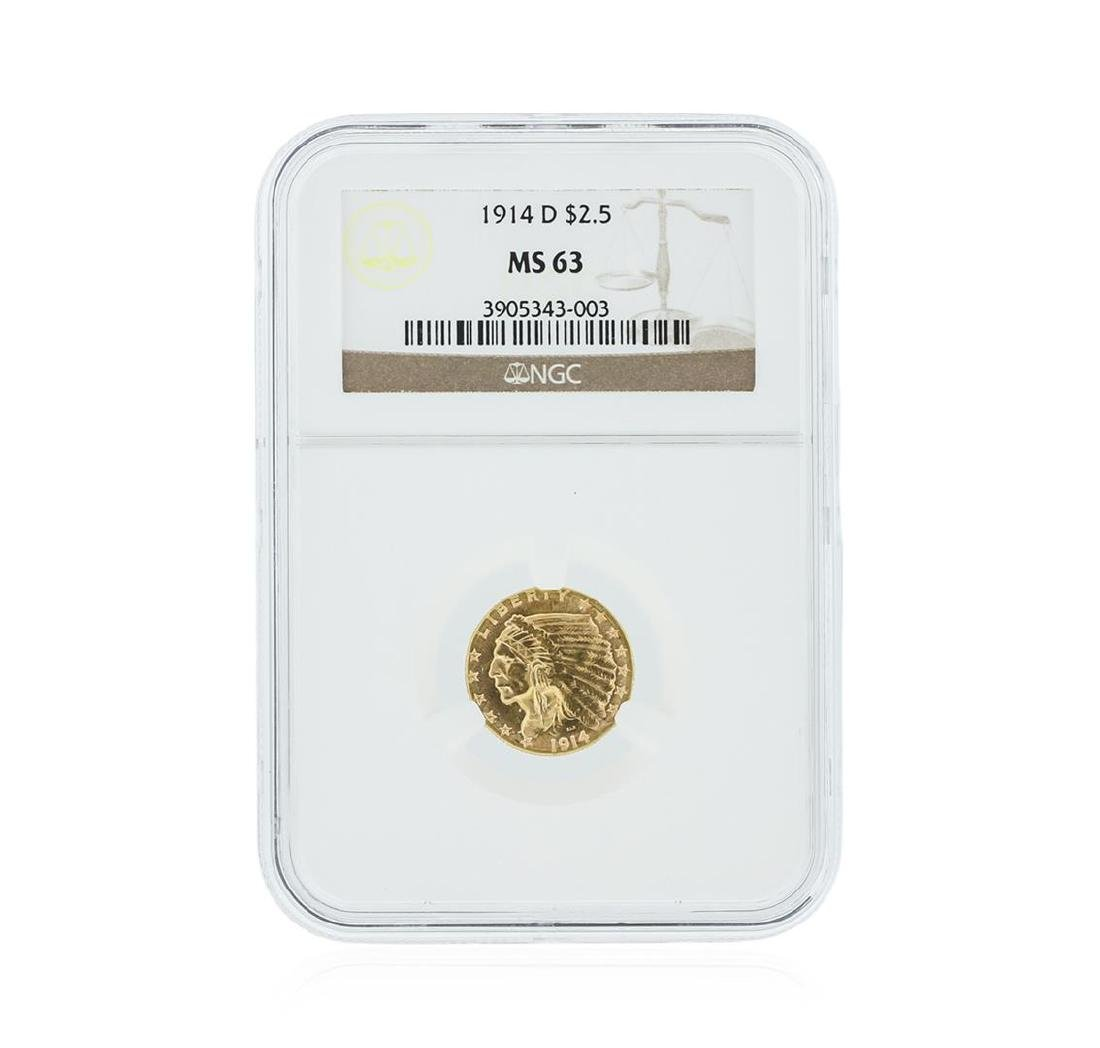 1914-D NGC MS63 $2.50 Indian Head Quarter Eagle Gold