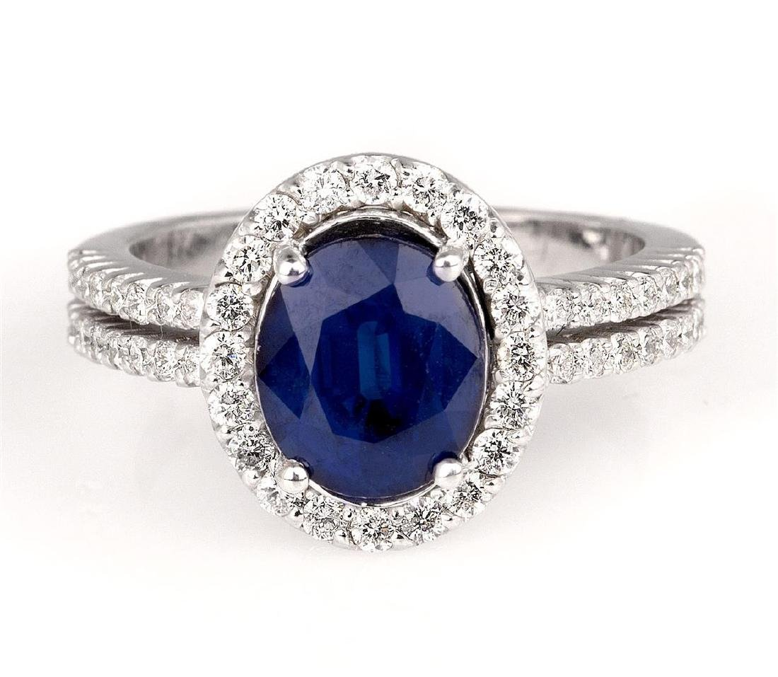2.75 ctw Blue Sapphire and Diamond Ring - 14KT White