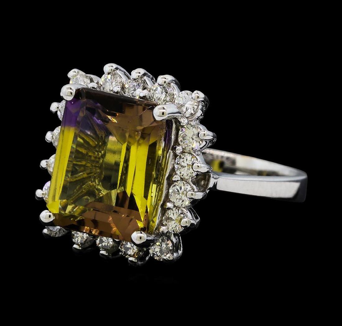 4.62 ctw Ametrine Quartz and Diamond Ring - 14KT White