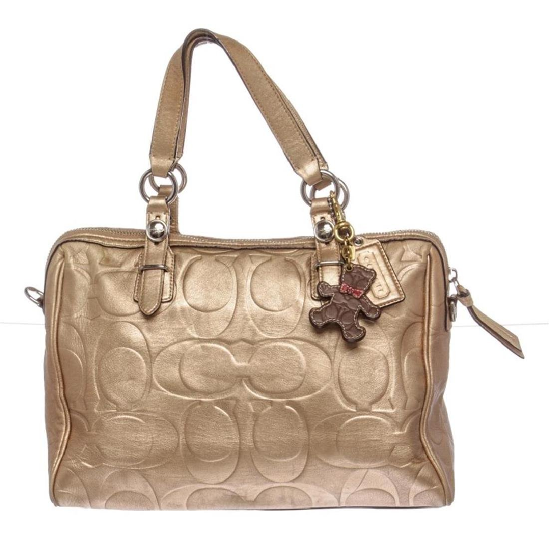 Coach Metallic Gold Monogram Leather Tote Bag
