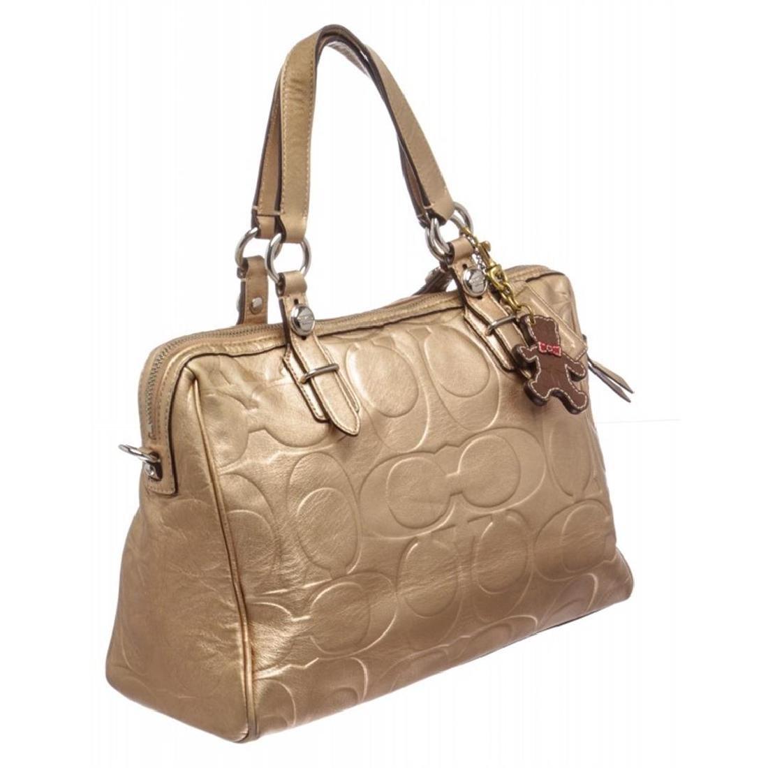 Coach Metallic Gold Monogram Leather Tote Bag - 2